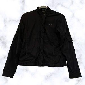 Nike small black zip running jacket activewear snap button pockets long sleeve